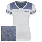 Ladies White/Heathered Deep Royal Juniors Varsity V Neck Tee-Airbus