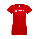 Next Level Ladies SoftStyle Junior Fitted Red Tee-Airbus Helicopters