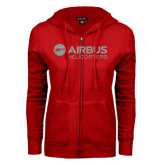 ENZA Ladies Red Fleece Full Zip Hoodie-Airbus Helicopters Silver Soft Glitter