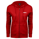 ENZA Ladies Red Fleece Full Zip Hoodie-Airbus