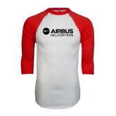 White/Red Raglan Baseball T-Shirt-Airbus Helicopters