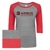 ENZA Ladies Athletic Heather/Red Vintage Triblend Baseball Tee-Airbus Helicopters Red Glitter