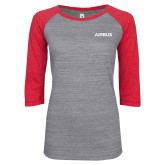 ENZA Ladies Athletic Heather/Red Vintage Triblend Baseball Tee-Airbus