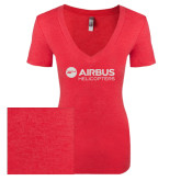 Next Level Ladies Vintage Red Tri Blend V-Neck Tee-Airbus Helicopters White Soft Glitter