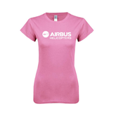 Next Level Ladies SoftStyle Junior Fitted Pink Tee-Airbus Helicopters