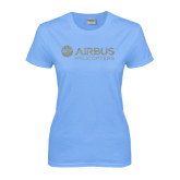 Ladies Sky Blue T Shirt-Airbus Helicopters Silver Soft Glitter