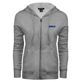 ENZA Ladies Grey Fleece Full Zip Hoodie-Airbus