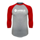 Grey/Red Raglan Baseball T-Shirt-Airbus Helicopters