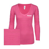 ENZA Ladies Hot Pink Long Sleeve V Neck Tee-Airbus Helicopters
