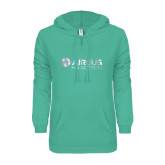 ENZA Ladies Seaglass V-Notch Raw Edge Fleece Hoodie-Airbus Helicopters Foil
