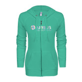 ENZA Ladies Seaglass Light Weight Fleece Full Zip Hoodie-Airbus Helicopters Foil