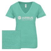 ENZA Ladies Seaglass Melange V Neck Tee-Airbus Helicopters White Soft Glitter
