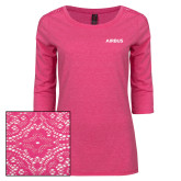Ladies Dark Fuchsia Heather Tri Blend Lace 3/4 Sleeve Tee-Airbus