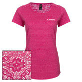 Ladies Dark Fuchsia Heather Tri-Blend Lace Tee-Airbus