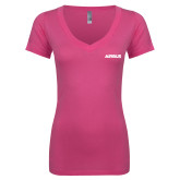 Next Level Ladies Junior Fit Deep V Pink Tee-Airbus