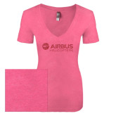 Next Level Ladies Vintage Pink Tri Blend V-Neck Tee-Airbus Helicopters Pink Glitter