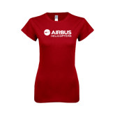 Next Level Ladies SoftStyle Junior Fitted Cardinal Tee-Airbus Helicopters