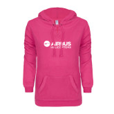 ENZA Ladies Hot Pink V-Notch Raw Edge Fleece Hoodie-Airbus Helicopters