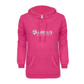 ENZA Ladies Hot Pink V-Notch Raw Edge Fleece Hoodie-Airbus Helicopters Foil