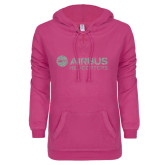 ENZA Ladies Hot Pink V-Notch Raw Edge Fleece Hoodie-Airbus Helicopters Silver Soft Glitter