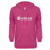 ENZA Ladies Hot Pink V-Notch Raw Edge Fleece Hoodie-Airbus Helicopters White Soft Glitter