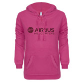 ENZA Ladies Hot Pink V-Notch Raw Edge Fleece Hoodie-Airbus Helicopters Hot Pink Glitter