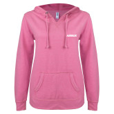 ENZA Ladies Hot Pink V Notch Raw Edge Fleece Hoodie-Airbus