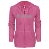 ENZA Ladies Hot Pink Light Weight Fleece Full Zip Hoodie-Airbus Helicopters Silver Soft Glitter
