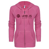 ENZA Ladies Hot Pink Light Weight Fleece Full Zip Hoodie-Airbus Helicopters Hot Pink Glitter