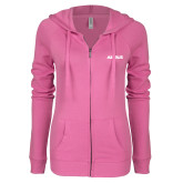 ENZA Ladies Hot Pink Light Weight Fleece Full Zip Hoodie-Airbus