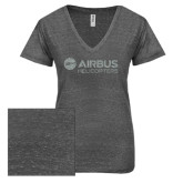 ENZA Ladies Graphite Melange V Neck Tee-Airbus Helicopters Silver Soft Glitter