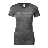 Next Level Ladies Junior Fit Dark Grey Burnout Tee-Airbus Helicopters Silver Soft Glitter