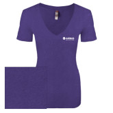 Next Level Ladies Vintage Purple Rush Tri Blend V Neck Tee-Airbus Helicopters