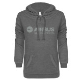 ENZA Ladies Dark Heather V-Notch Raw Edge Fleece Hoodie-Airbus Helicopters Silver Soft Glitter