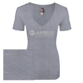 Next Level Ladies Vintage Heather Tri Blend V Neck Tee-Airbus Helicopters White Soft Glitter