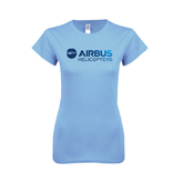 Ladies SoftStyle Junior Fitted Light Blue Tee-Airbus Helicopters Foil
