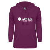 ENZA Ladies Berry V Notch Raw Edge Fleece Hoodie-Airbus Helicopters
