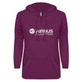 ENZA Ladies Berry V Notch Raw Edge Fleece Hoodie-Airbus Helicopters White Soft Glitter