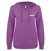 ENZA Ladies Berry V Notch Raw Edge Fleece Hoodie-Airbus