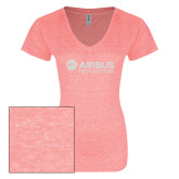 ENZA Ladies Coral Melange V Neck Tee-Airbus Helicopters White Soft Glitter