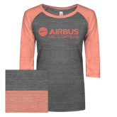 ENZA Ladies Dark Heather/Coral Vintage Triblend Baseball Tee-Airbus Helicopters Coral Soft Glitter