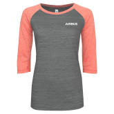 ENZA Ladies Dark Heather/Coral Vintage Triblend Baseball Tee-Airbus