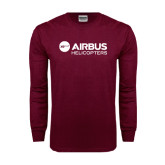 Maroon Long Sleeve T Shirt-Airbus Helicopters