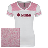 Ladies White/Bright Pink Juniors Varsity V Neck Tee-Airbus Helicopters Hot Pink Glitter