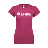 Ladies SoftStyle Junior Fitted Fuchsia Tee-Airbus Helicopters
