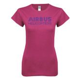 Ladies SoftStyle Junior Fitted Fuchsia Tee-Airbus Helicopters Rhinestoens