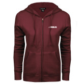 ENZA Ladies Maroon Fleece Full Zip Hoodie-Airbus