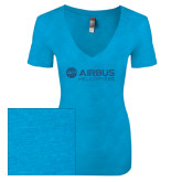 Next Level Ladies Vintage Turquoise Tri Blend V Neck Tee-Airbus Helicopters Turquoise Glitter