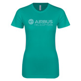 Next Level Ladies SoftStyle Junior Fitted Tahiti Blue Tee-Airbus Helicopters Teal Glitter