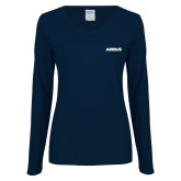 Ladies Navy Long Sleeve V Neck T Shirt-Airbus